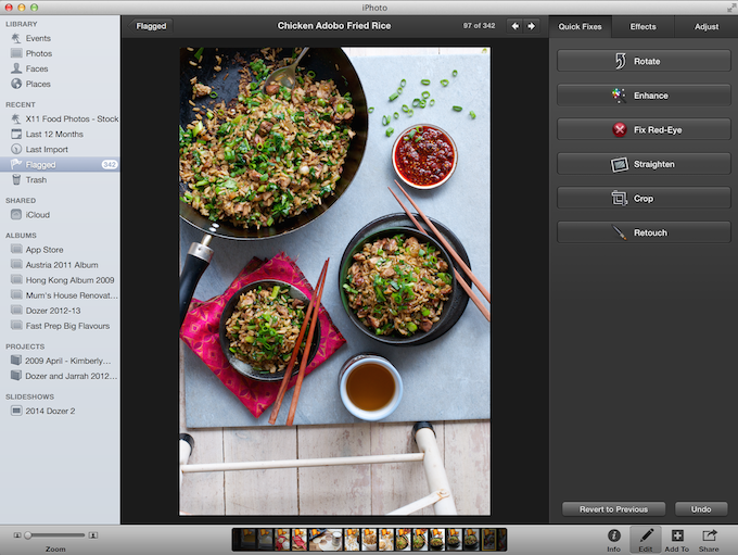 Easy Fast editing in iPhoto
