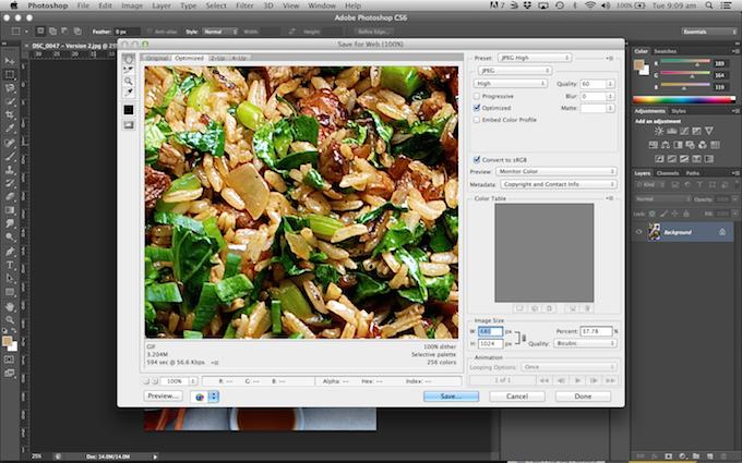 Saving Photos Optimised for Web Photoshop
